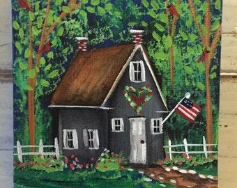 """Summer Cardinals-Original 4""""x4""""Miniature Canvas Art with Easel"""