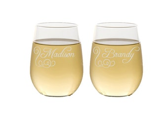 Set of 8 Bridesmaid Gifts, Personalized Bridesmaids Gift, Custom Engraved Wine Glassware, Engraved, Bridal Party Gift, Stemless Wine Glasses