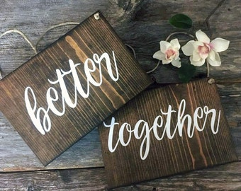 Better Together Chair Signs | Mr and Mrs Chair Signs | Wedding Day Decorations | Wedding Decor | Rustic Wedding | Outdoor Wedding | His Hers