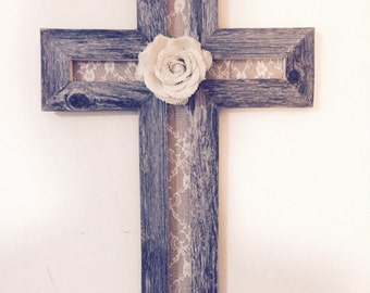 Rustic Wood Cross | Cross Decor | Cross Wall Hanging | Wooden Cross | Reclaimed Wood Cross | Baptism Gift | Christian Gifts | Wedding Gift