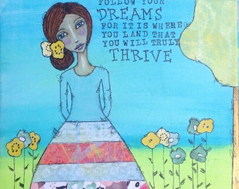 She Spread Her Wings 11x14 mixed media whimsical girl painting