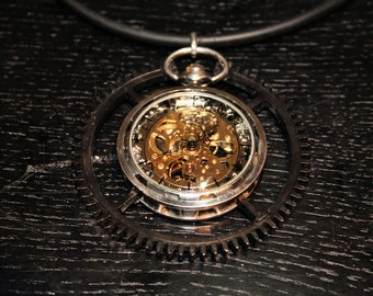 Pendant, Steampunkpendant,Skeletonwatch,24 Hours running Clock, Pendant with black Brass oxydated wheel,Blackrubberchain
