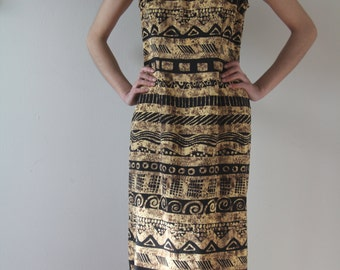 vintage african print dress // batik print shift dress