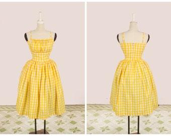 "Grace Dress ""Lemonade Stand"" in Yellow Checkered Gingham Print"