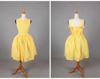 "Madeline Sundress ""Lemonade Stand"" in Yellow Checkered Gingham Print"