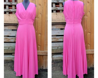 Vintage 1960's Pink Full Length Pleated Skirt Fortrel Polyester Party Evening Dress