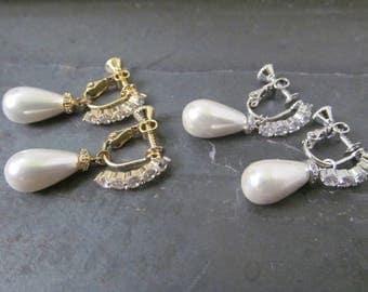 pearl teardrop earrings for non pierced ears, clip on earrings,  pearl wedding earrings, non pierced earrings, screw type earrings