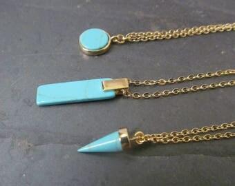 turquoise necklace, turquoise jewelry, geometric necklace, turquoise bar necklace, turquoise pendant necklace, minimalist jewelry