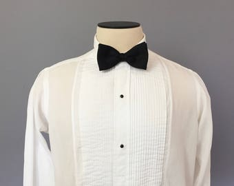 Vintage 1940s - 1950s Tux Shirt / 40s 50s Pleated Tuxedo Shirt / Large 16 - 34 / White / French Cuffs / Excello / Formal Shirt