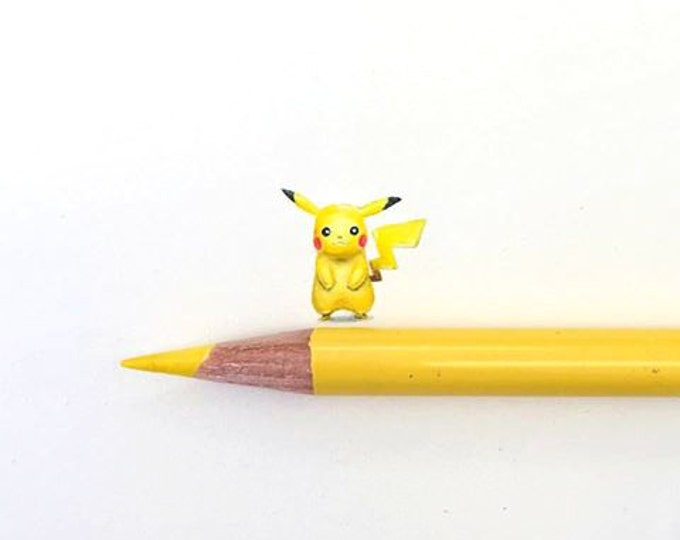 """Print of miniature painting of a Pikachu. 1 1/4"""" x 1 1/4"""" print of original Pikachu painting on 5"""" square german etching paper"""