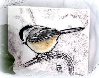 """Fabric Postcard/Card, Mini Art Quilt, Fiber Art, Mini Art Quilt, Wall Decor, Wall Hanging,, Bird Art, Chickadee 5"""" x 7"""" UNFRAMED"""