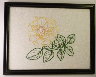 Framed Handmade Embroidery - Yellow Flower