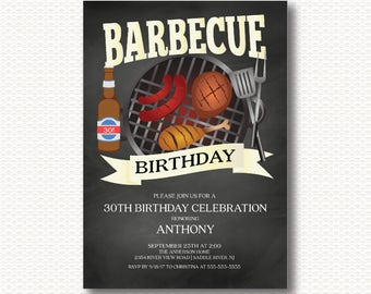 Barbecue Birthday, Invitation, Birthday Party, Beer, Barbecue, Chalkboard, Co-ed, Bbq, DYI, Digital, Printable, 30th, 40th, 50th, 60th,
