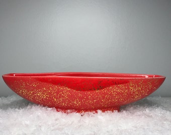 pretty red and gold mid century ceramic planter or dish