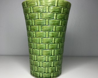 vintage green ceramic basket weave vase