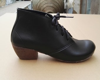 Sale 20% OFF, shipping free,  Vegan Leather Shoes,  boots with heels, winter Shoes, design boots, ROXANNE BLACK