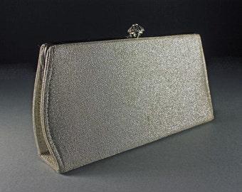 Silver Evening Bag, Clutch Purse, Chain Handle, Silver Lurex, Black Interior, Snap Rhinestone Closure