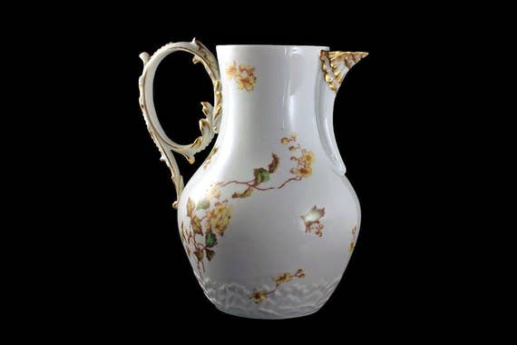 Antique Pitcher, Ch. Field Haviland, Limoges, France, Yellow Flowers, Gold Trimmed, Hard To Find China