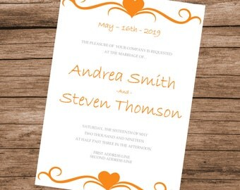 Printable Wedding Invitation Template, Orange Hearts Design, Editable Text & Colors, INSTANT DOWNLOAD, 5x7 inches