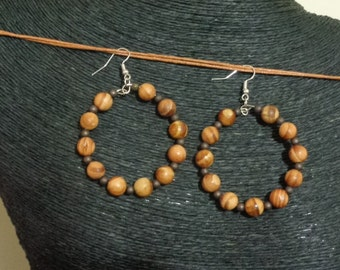 Wood Bead Hoop Earrings