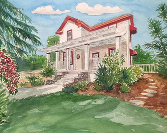 Custom hand painted water color house portrait