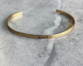 """Create Your Own GOLD Hand Stamped Hammered Thin Stacking Style Cuff Bracelet Personalized Inspirational 1/8"""" x 6"""""""