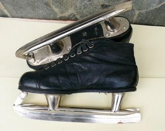 Antique Hockey Skates, USSR Ice Skates, Leather Hockey Skates, Leather Ice Skates, Sports Collectible,Vintage Hockey Equipment, 1964