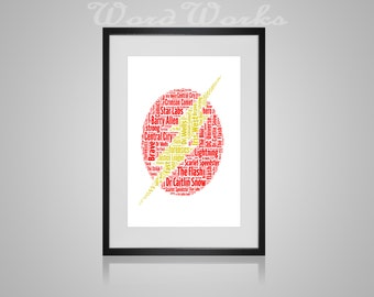 "Personalised The Flash Word Art  **Buy 3 prints get the 4th FREE**  Use coupon code "" MYFREEONE """