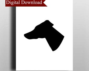 Greyhound Dog Silhouette DIGITAL Print Download