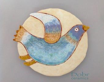 Ceramic plate, Ceramic dish, Wall decor, Bird, Made to order