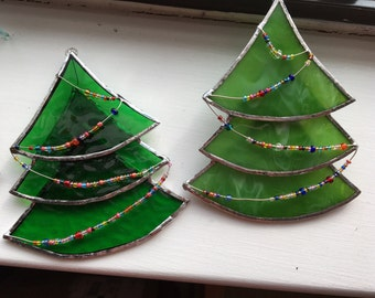 Stained Glass Christmas Tree Ornament - Large