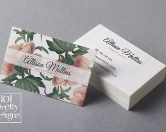 Floral business card design, flowers business card template printable business card design watercolor business card,  white pink vintage