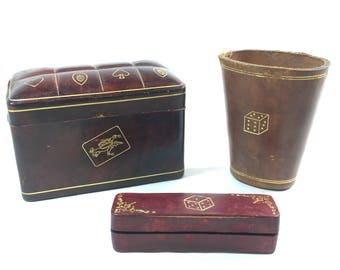 Italian Leather Dice Cup Shaker Playing Card Holder Two Slot Deck Box Dice Carrier Case With Dice Poker Bridge Vintage Games