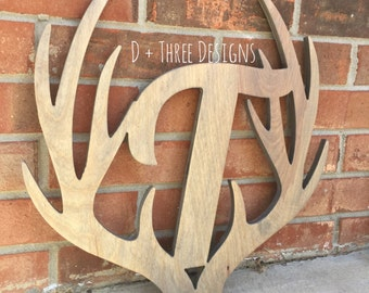 """14"""" Distressed Wooden Antler Monogram, Rustic Monogram, Hunter Decor - You Pick The Stain Color or Paint Color"""