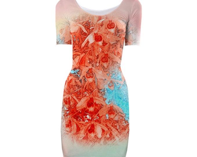 Fragrant Garden Bodycon Dress-Evening Dress,Cocktail Dress, Party Dress, Midi Dress,Elegant Dress,Floral Dress,Custom-Made Dress,Knee Length