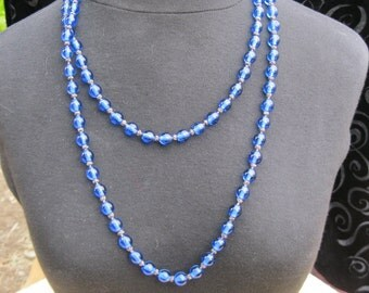 Blue Glass Beads ,Hand Knotted, Opera length 54""