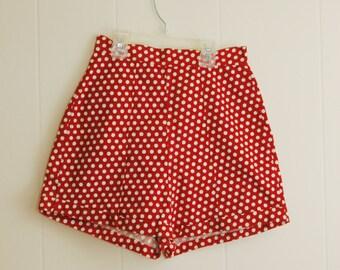 "Vintage 1950's Red Polka Dot Mini Shorts High Waist 24"" Hips 35"" Small"
