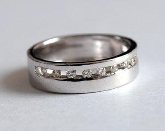 gold mens ring mens wedding band diamond wedding band solid gold wedding ring - Wedding Ring For Him
