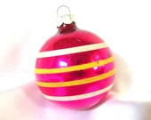 Vintage Shiny Brite Christmas Ornament - Hot Pink with White and Yellow Stripes Christmas Ornament
