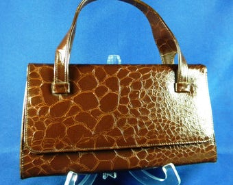 Mid Century Mad Men Vintage Handbag Top Handle Brown Alligator Croc ? with Button Clasp