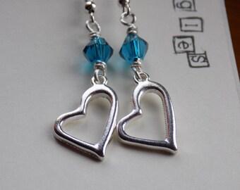 Heart dangle earrings on 925 silver earwires