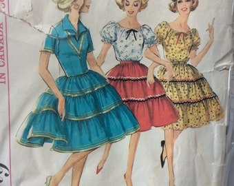 Simplicity 5545 vintage 1960's misses dress, peasant blouse and ruffled skirt sewing pattern size 12 bust 32
