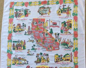 California souvenir vintage tablecloth