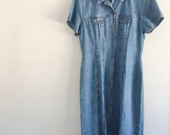 VINTAGE denim dress size 14