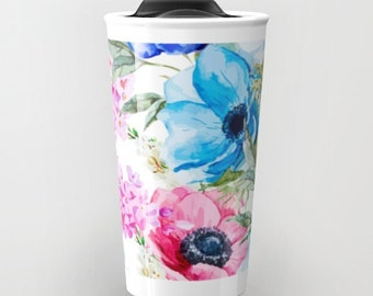 Floral Travel Mug Blue Pink Flowers Ceramic Travel Mug Watercolor Floral Print Travel Coffee Mugs girls gift office mug girls gift ideas