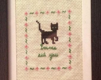 Cross Stitch Pattern, Cat, Imma Cut You, Digital File Download