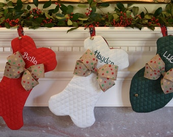 Dog Bone Holiday Stockings || Personalized Pet Fish and Bone with Jingle Bell Christmas Stocking || Gift by Three Spoiled Dogs