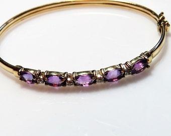 Vintage 14kt gold bangle bracelet with amethysts and diamonds