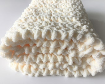 Beige Baby Blanket, Crochet Baby Blanket, Cream Baby Blanket, Baby Photo Prop, Car Seat Blanket Free Shipping Baby Shower Gift Ready to Ship