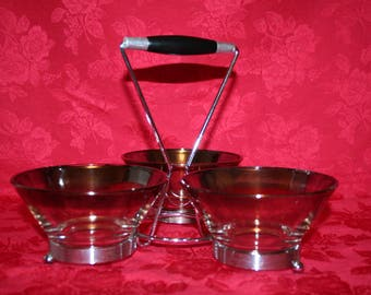 Silver Fade Condiment Dishes (3) with Caddy